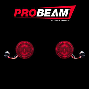 Fat Head Cycles Harley-Davidson Custom Lighting ProBeam® Rear Red Ring 1157 LED Turn Signal Inserts w/ Red Lenses For Harley-Davidson® | 2000-2020