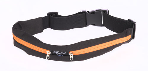 Black Fitness Belt with Orange Zipper