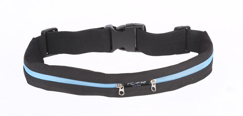 Black Fitness Belt with Blue Zipper