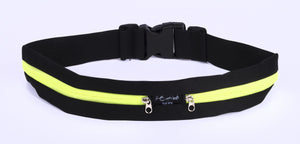 Black Fitness Belt with Yellow Zipper