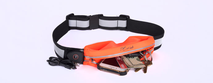 PeHub006_Orange LED Reflective Belt Pouch Fanny Pack with three mode pouch light USB rechargeable
