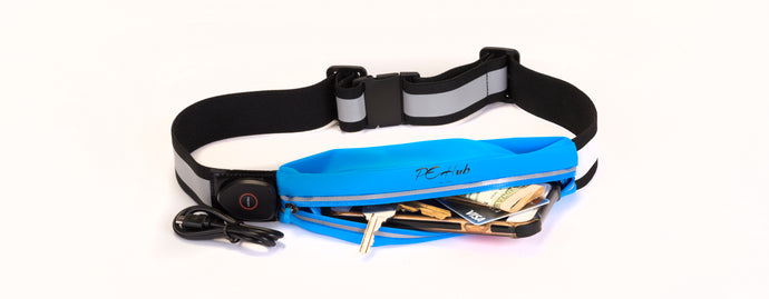 Blue LED Reflective Belt Pouch Fanny Pack