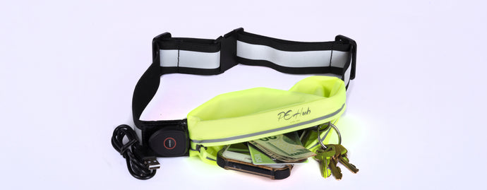 Yellow LED Reflective Belt Pouch Fanny Pack