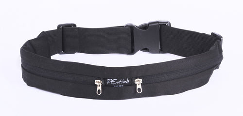 PeHub_AM-EMME-7GTM_Black Fitness Belt With two Black Zipper pouches