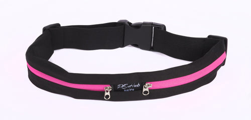 Black Fitness Belt with Pink Zipper