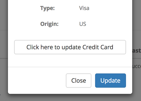 Steeped Coffee Credit Card Subscription Update Menu