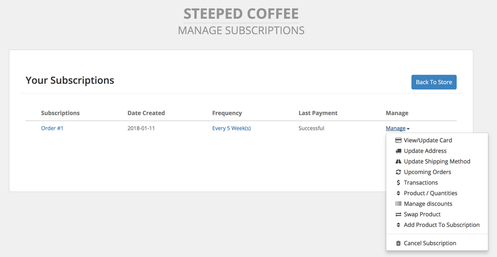 Steeped Coffee Manage Subscription Overview