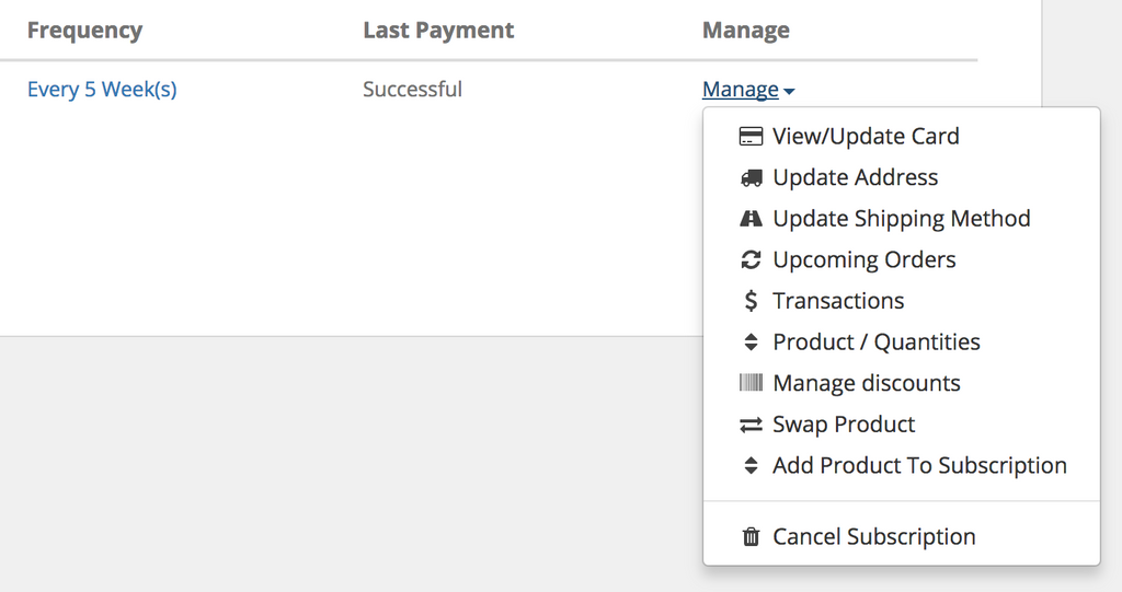 Steeped Coffee Manage Subscriptions Option Dropdown