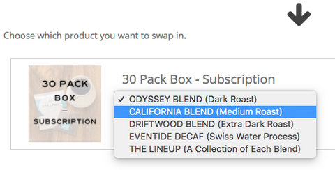 Subscription Swapping Products Selection