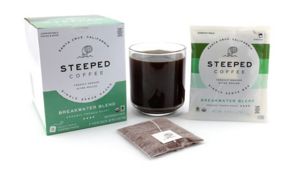 Steeped Coffee Organic and Fair Trade French Roast Breakwater Blend