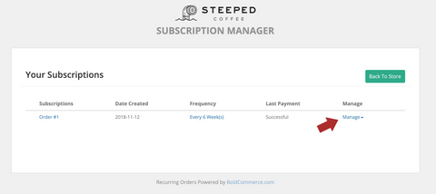 Manage individual subscriptions with the Manage dropdown menu