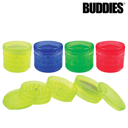 BUDDIES­­ PLASTIC MAGNETIC GRINDER W/ SCREEN - 4 PC