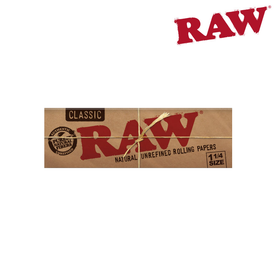 Raw Classic 1 1/4 size Natural Unrefined Hemp Papers