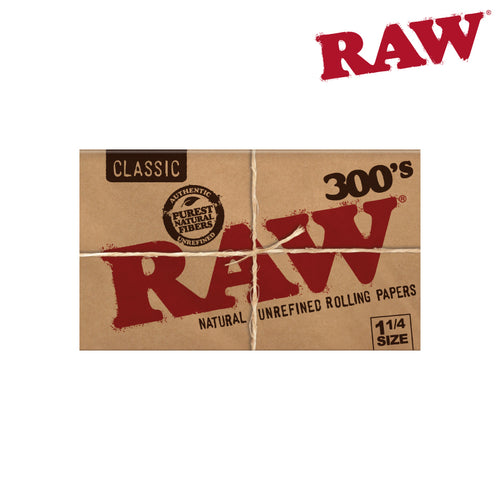 Raw Classic Natural Unrefined Hemp 300 Rolling Papers 1 1/4 Size Pack/300