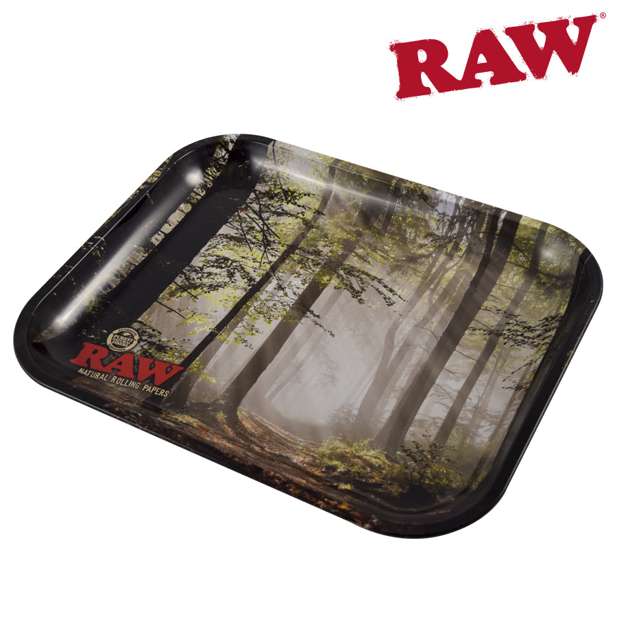 RAW SMOKEY TREES Metal ROLLING TRAY
