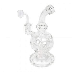 "GEAR Premium 10"" Tall Swiss Globe Concentrate Bubbler Rig W/UFO Perc & Quartz Banger"