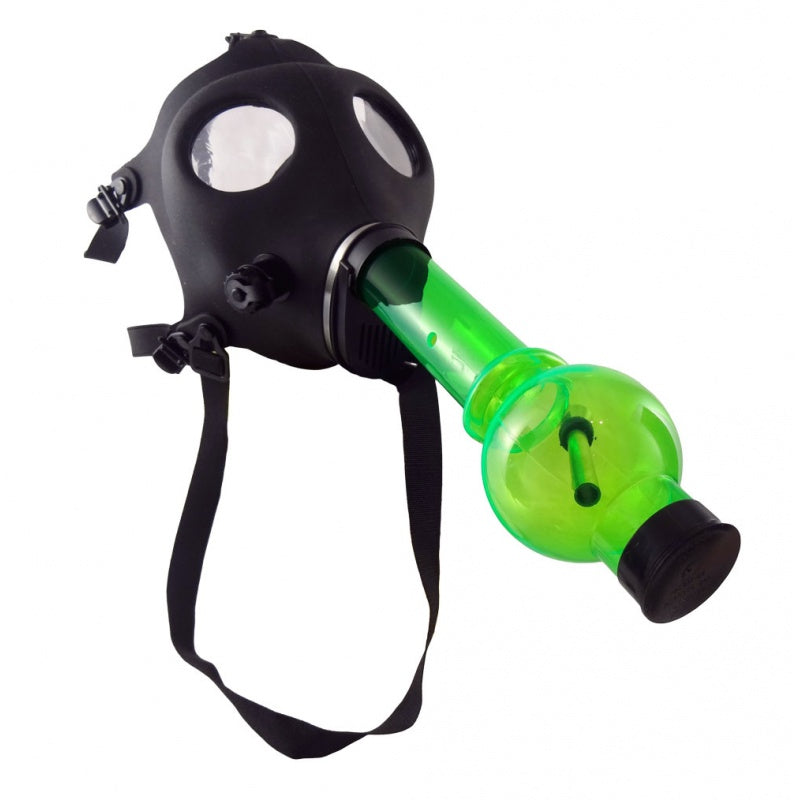 Classic Black Gas Mask w/ Acrylic Water Pipe