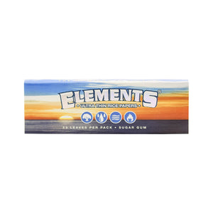 Elements Ultimate Thin Rice Rolling Papers Single Wide, Pack of 50