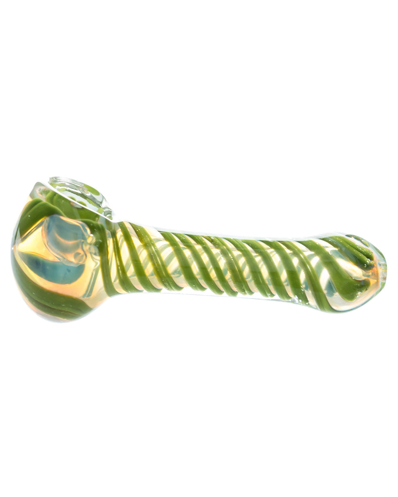 Fumed Glass Hand Pipe with Green Swirls