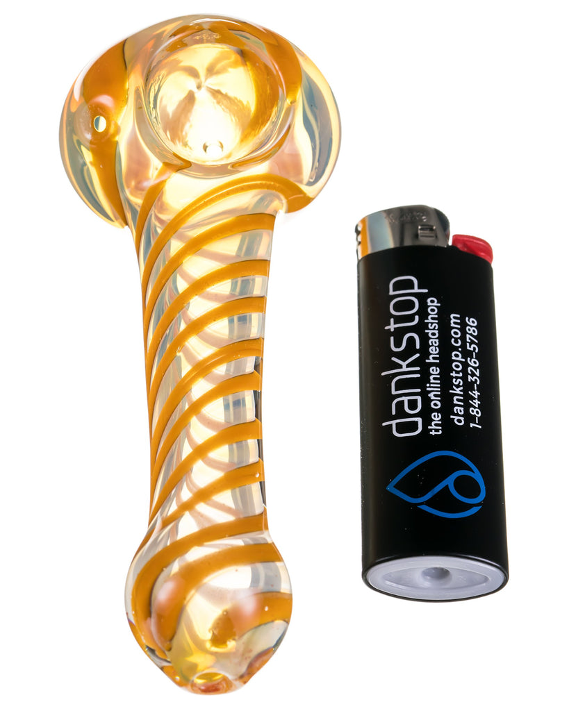 Fumed Swirl Hand Pipe with Orange Swirls