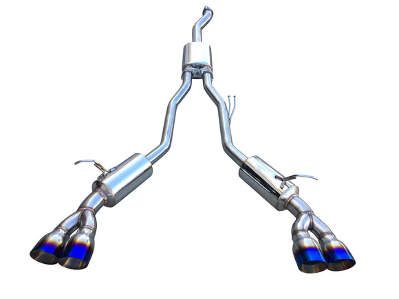 CNT Racing V3 Hyundai Genesis 2.0T Catback Exhaust 3 inch Piping quad 4 inch tips (blue tips) - CNT Racing