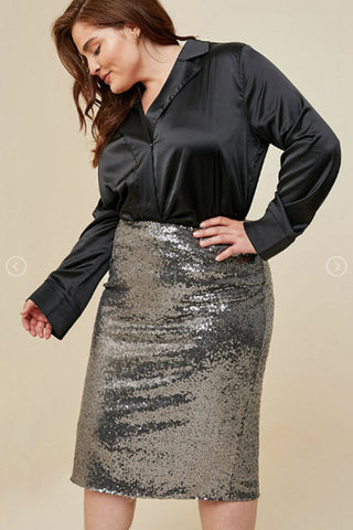 Gun Metal Sequin Midi Pencil Skirt