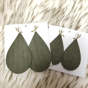 "Forest Green Knit 2"" & 3"" Leather Earring"