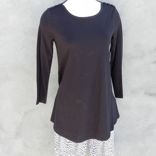 Multiples Black 3/4 Sleeve Top With Buttons