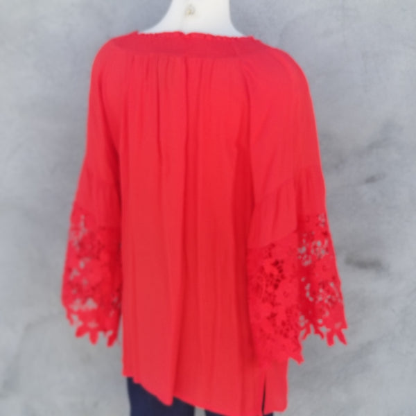 Multiples: Red Lace Sleeve Top