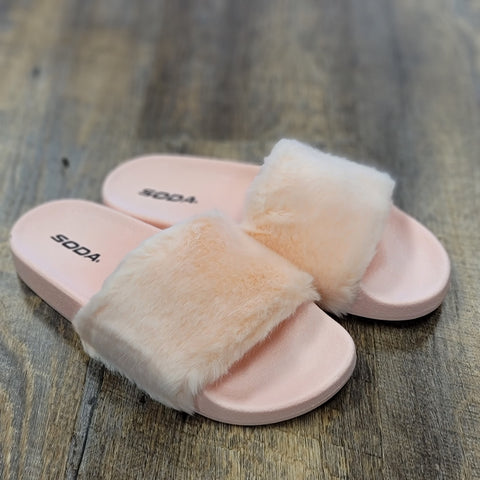 Light Pink Fuzzy House Slippers