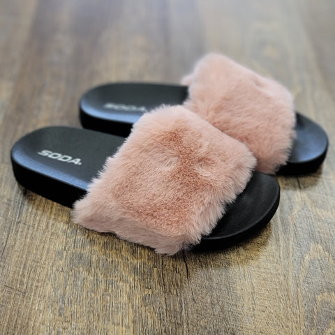 Mauve Fuzzy House Slippers