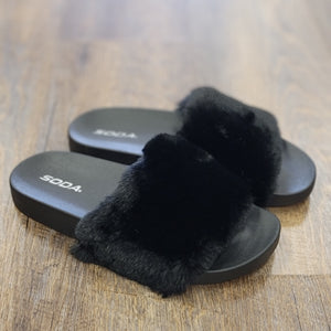 Black Fuzzy House Slippers