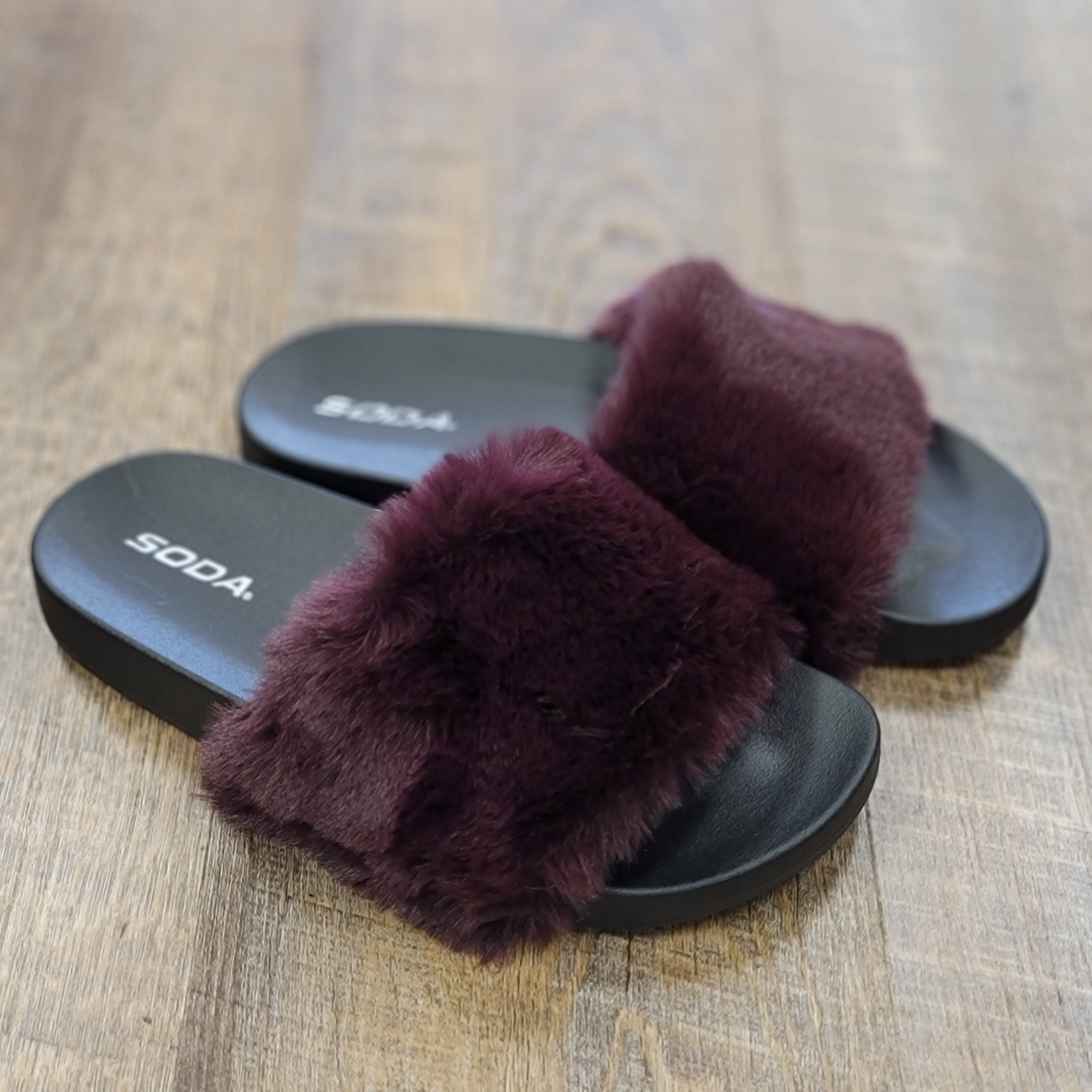 Plum Fuzzy House Slippers