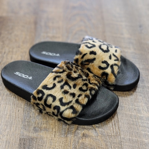 Leopard Fuzzy House Slippers