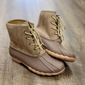 Mocha Lace Up Duck Boot
