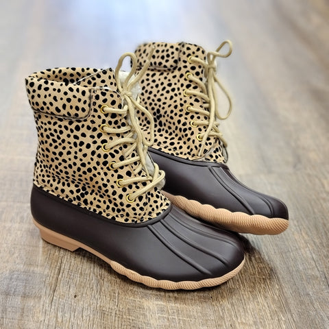 Cheetah Lace Up Duck Boot
