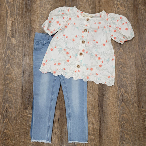 Girls Puff Sleeve Blouse & Jeans Set