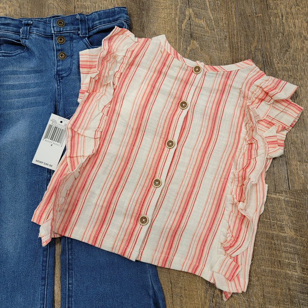 Girls Pink Striped Ruffle Top & Jeans Set