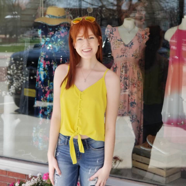 Button Down Cami - Acid Yellow