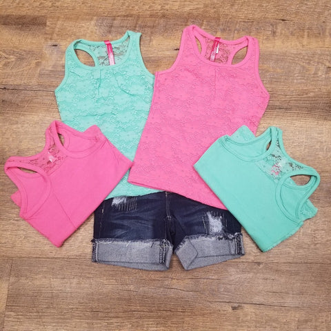 Girls Lace Racer-back Tank (2 Colors)