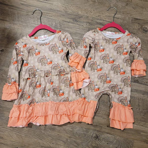 Coral Floral Turkey Romper / Dress