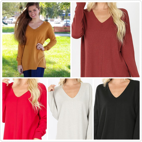 Hi-Low Front Hem Sweater- 5 Color Options