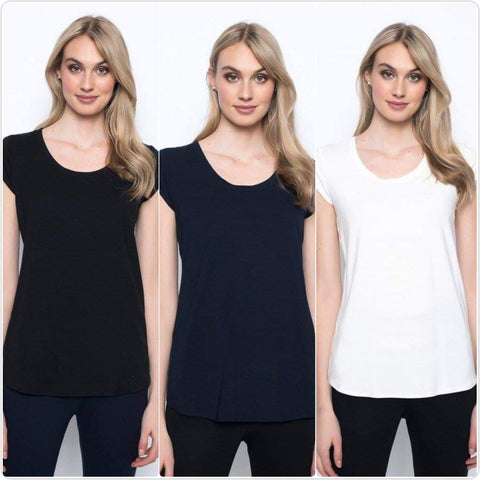 Picadilly Scoop Neck Basic Tee - 3 Colors