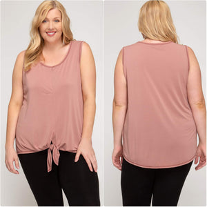 Sleeveless Front Tie Knit Top Dusty Rose