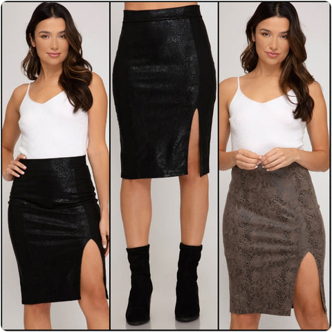 Snakeskin Midi Side Slit Skirts