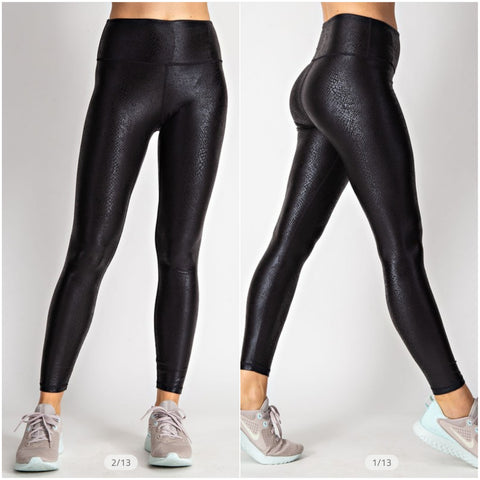 Faux Leather Croc Print Ultimate Leggings