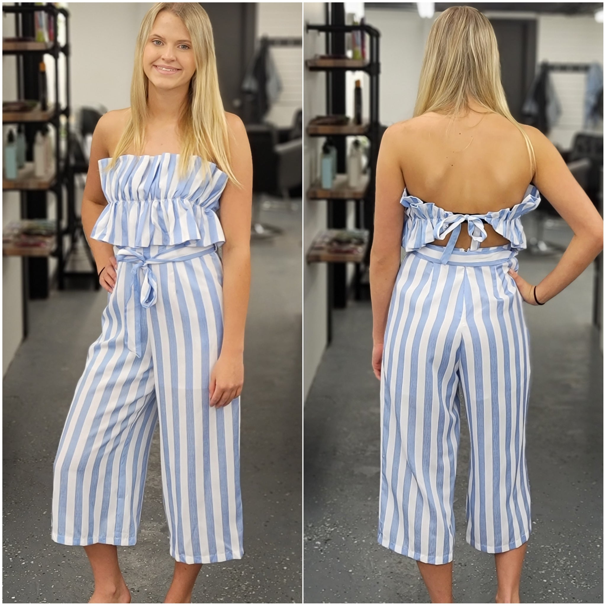 Sky Blue Ruffle Cropped Jumpsuit