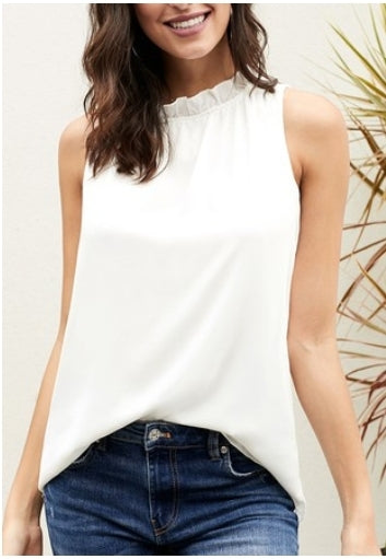 Ruffle Neck Basic Tops