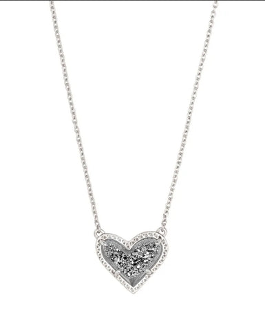 Ari Heart Silver Pendant Necklace In Platinum Drusy