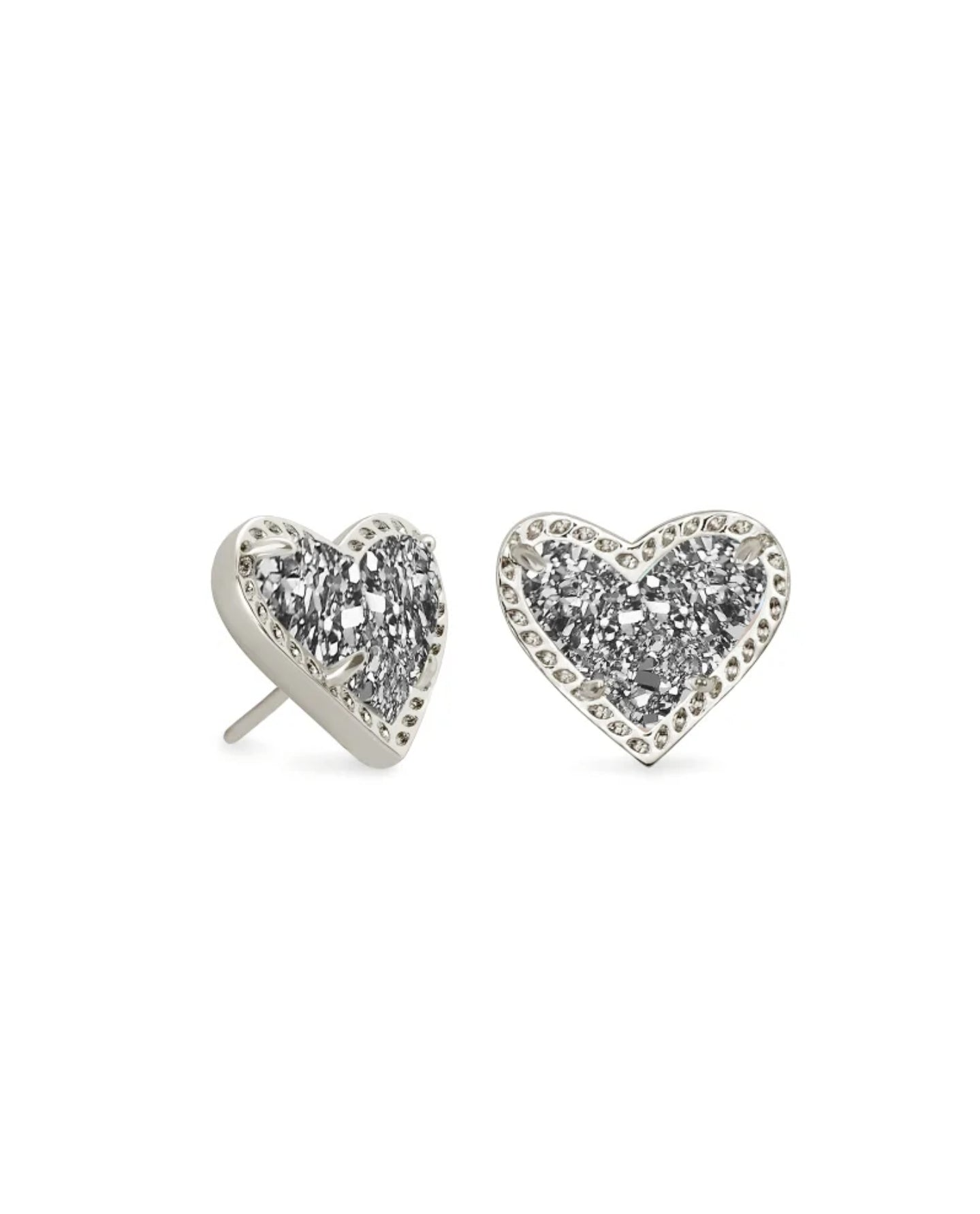 Ari Heart Gold Stud Earrings In Platinum Drusy